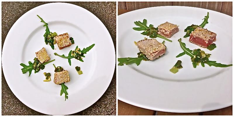Krokante tonijn met sesamzaad en limoensalsa met rucola - www.truitjeroermeniet.be
