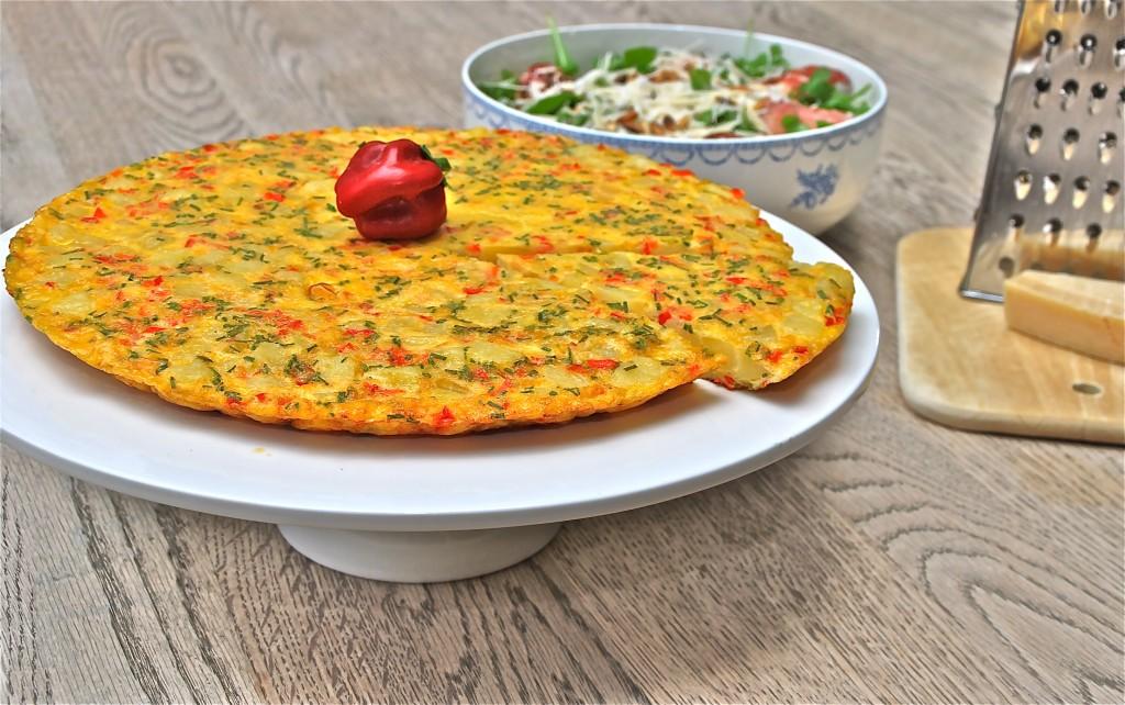 Tortilla met ui en paprika - www.truitjeroermeniet.be