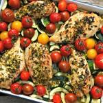 Kip in de oven met gremolata, tomaten en courgette
