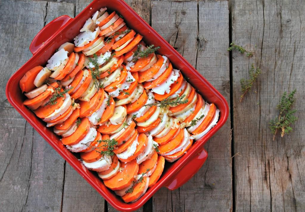 Ovenschotel van wintergroenten en geitenkaas - www.truitjeroermeniet.be