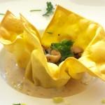 Lasagnetulpje met vulling van kip, champignons en citroenzeste