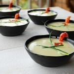 Vichyssoise met rivierkreeftjes en zalmeitjes