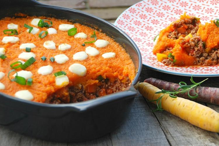 Ovenschotel met gehakt, wortel en mozzarella - www.truitjeroermeniet.be