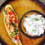 Bootjes van courgette gevuld met kip en Zuiderse groenten