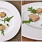 Krokante tonijn met sesamzaad en limoensalsa met rucola