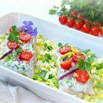 Ovenschotel van kabeljauw met ricotta-kruidentopping en prei
