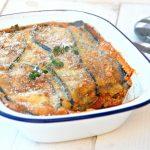 Auberginelasagne met kippengehakt (zonder pasta)